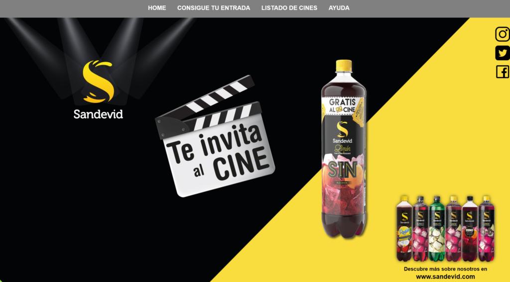 Portada web al cine con Sandevid