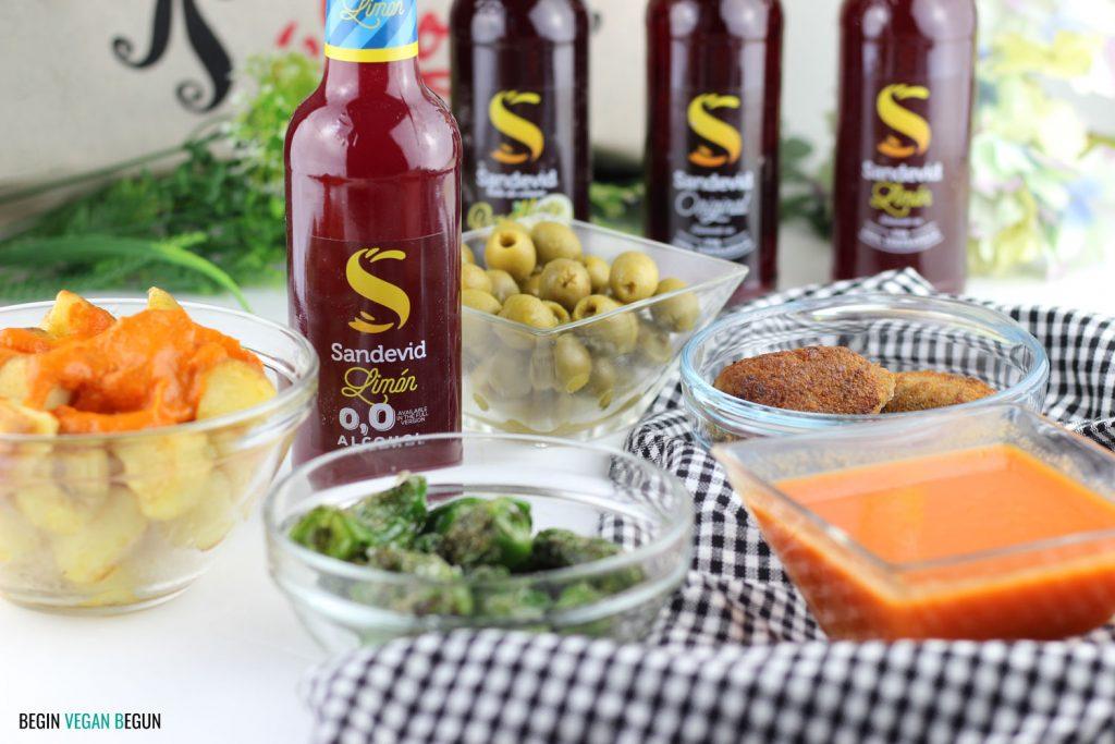 Estilo de vida vegano: comida de origen vegetal acompañada de tinto de verano Sandevid