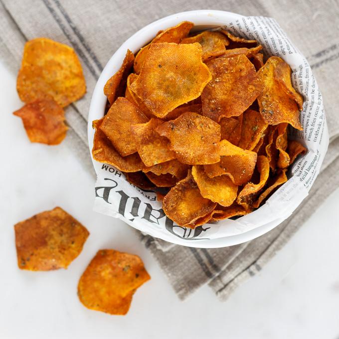 Chips de boniato al horno.